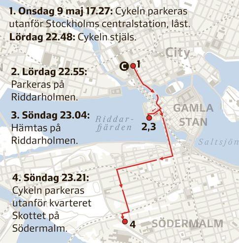 Kartan med stulen cykel med gps-sändare